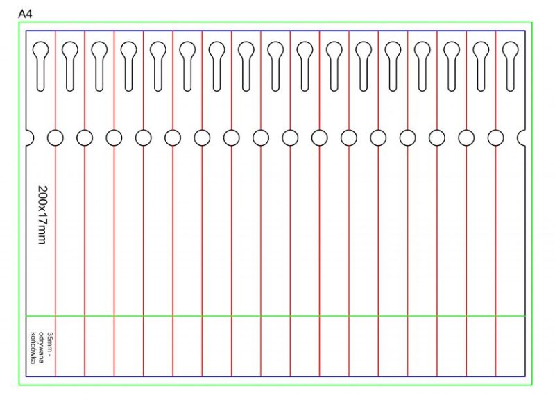 etykieta pętelkowa 200×17 laser arkusz A4 zrywka