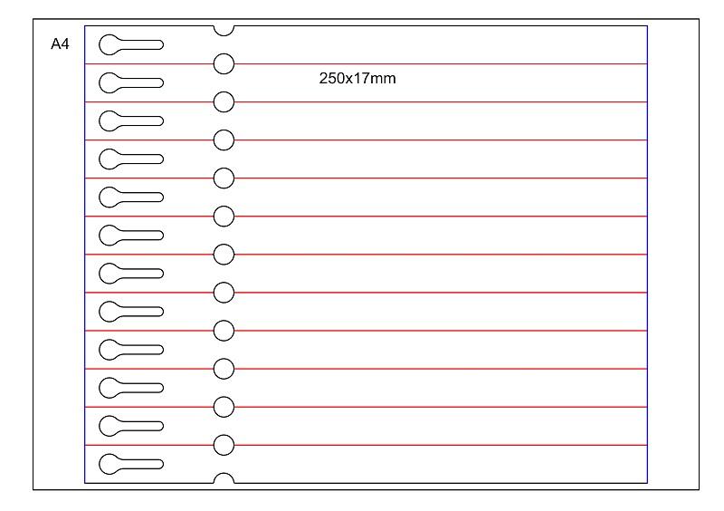 etykieta pętelkowa laser 250×17 arkusz A4 bez zrywki