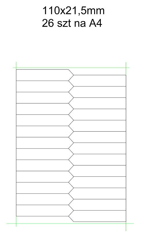 etykieta wtykana laser arkusz A4 110×21,5