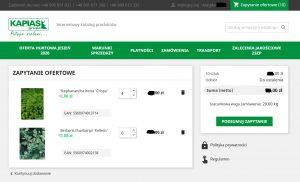 Po zaznaczeniu produktów iich ilości system formularza zapytań ofertowych sumuje koszt zamówienia iinformuje ojego szacunkowej wadze. Źródło: hurt.kapias.com.pl
